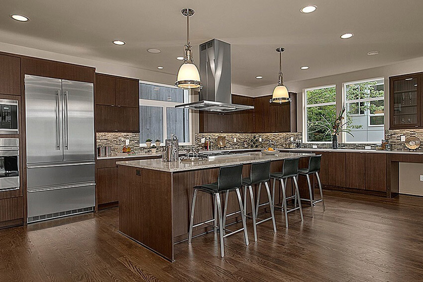 contemporary-kitchen-with-brown-cabinets-glass-backsplash